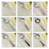 Party Favor Silicone Bead bracelet key ring anti loss wood women Tassel key chain 9 style T2I52862