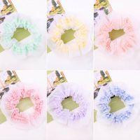 Girls Hair Accessories Tie Hairbands Bands Headbands Teenage Childrens Chiffon Plaid Flower Sweet Ring B7558