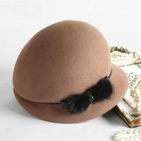 2020 그늘 100 % 호주 양모 Fedoras 여성 가을 겨울 교회 Cloche Hats 우아한 연회 밍크 모피 페도라 모자