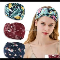 Headbands Hair Jewelry Jewelry Wide-Brimmed Cross Ladies Bohemian Printed Knitted Sweat-Absorbent Sports Yoga Headband 51 Colors Moq=20Pcs D