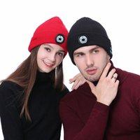 Winter Beanie Hat Unisex Beanie Soft вязаная шляпа беспроводной Bluetooth 5.0 смарт-крышка стерео наушников гарнитура светодиодный свет в OPP Bag GWA4896