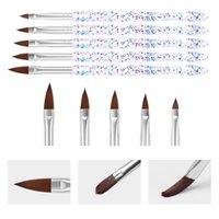 5pcs set Sequin Thread Crystal Acrylic Nail Art Brush UV Gel Carving Painted Pen Brushes Liquid Powder DIY Drawing 1281