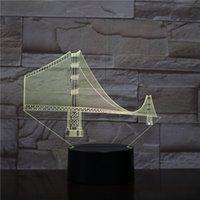 Golden Gate Bridge 3D luce notturna, tocco 7 colori cambiamento, illusione ottica lampada a LED lampada USB tavolo da tavolo per bambini giocattolo giocattolo camera da letto decorazione natale vacanze di compleanno regali ragazzo gir