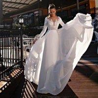 Other Wedding Dresses Beach Dress 2021 Long Sleeves Lace Appliques Detachable Court Train Bridal Gown Backless For Elegant Women Robe De Mar