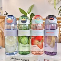 Large capacity plastic water Tumblers with scaled pop-lid portable sports handle bottle children's straw anti-choke cup