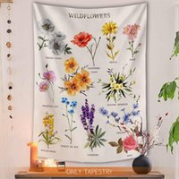 Tapestries Wildflower Tapestry Botanical 150X130CM Jacquard Fashion Sofa Cover Mat Headboard Table Japanese Curtains