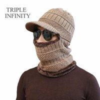 Bonnets Triple Infinity Hiver Chapeaux d'hiver pour hommes crullies Bonnetie épaisse chaude chaude chaucheuse chapeau chapeau de capuchon plein visage couverture chapeau tricoté chapeau balaclava