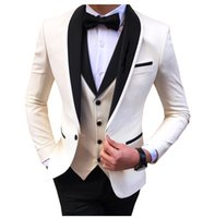 White Slit Mens Suits 3 Piece Black Shawl Lapel Casual Groom Tuxedos for Wedding Groomsmen Suits Men 2022 (Blazer+Vest+Pant)