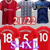 2021 맨체스터 축구 유니폼 2022 United Sancho Pogba Cavani Martial Utd Van de Beek B. Fernandes Rashford Greenwood Football Shirt Man Kids Kits Camiseta Maillot