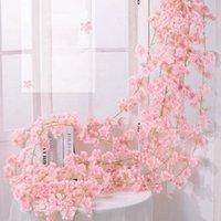 Flores decorativas Grinaldas Luanqi Artificial Alta Qualidade 1.8m Seda Fake para Wedding Wall Docland Garland Flor De Cerejeira Flor
