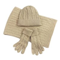 Fashion Ladies Autumn Winter Warm Solid Color Scarf Hat Glove Sets Women Thick Knit Soft Knitted Woollen Set