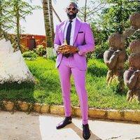 African Purple Mens Suits 2 Pieces Wedding Prom Tuxedo Groomsmen Blazer Suit Fashion Men Business Party Costume Homme Mariage