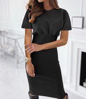 Fall Winter Elegant Women Dress 2021 O-neck High Waist Party Wear Short Sleeve Bodycon Black Solid Pencil Casual Dresses
