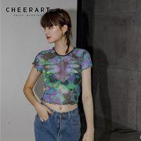 Chekeart Dragonfly Tie Tintura Malha Crop Top Mulheres Verão T Shirt Manga Curta Tshirt Tee Gótico Tops Tops Estéticas Roupas 210406