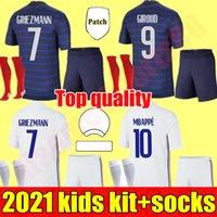 2021 Kids Kit Frankreich Jungen Fußball Trikots Chandal Maillot de Foot Francia Enfan Benzem Griezmann Kante Mbappe Pogba Französisch Football Shirt