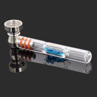 4 дюйма алмазного стиля стеклянный табачный ручной труб с 15 мм металлический чаша один удар курить трубы аксессуары для сухого трав CCF6516