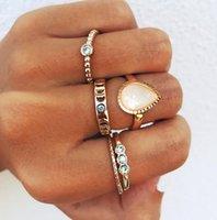 Nueva joyería de moda inlay inlay diamante gota gota gota hueco simple conjunto de articulaciones de cinco piezas
