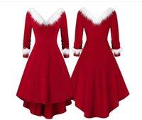 Womens Vintage Santa Christmas Printed-Dresses Ladies long Sleeve Dresses Sexy Xmas Party Festival Dress S-3XL