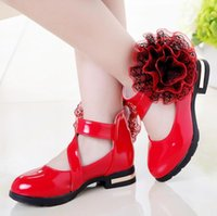 Flat Shoes Kids Girls High Heel Princess Flower Fashion Children Leather Party Dress Wedding Dance