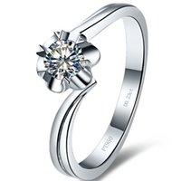 Sterling S925 Silver 0.23ct Elegant Ring Kvinnor NSCD Simulerad Diamant JewelLery Flower Style PT950 Stämplad 18K vitguldpläterad