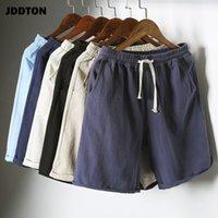 Bunte Sommer-Baumwoll-Leinen-Shorts der Männer, atmungsaktive große Größe 5XL Beach Soild Sweatshorts Casual Joggers Hosen JE021