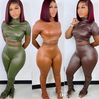 Women Tight Elastic PU Leather Pants Set Sexy Waist Exposed Two Piece Joggers Tracksuits New In Autumn And Winter