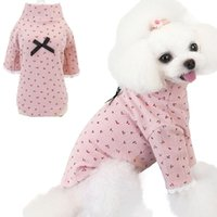 Dog Apparel Cute Pet Cat Sweater Hoodies Cherry Pattern Long Sleeve Sweatshirt With Bowknot Bottoming Blouses For Small Dogs Poodle