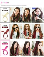 """Colored Highlight Synthetic Hair Extensions Clip In One Piece Color Strips 20"""" Long Straight Hairpiece For Sports Fans"""