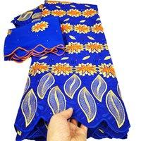 Tissu en dentelle africaine avec écharpe Swiss Voile Dentelle en Suisse 2 + 5YADS Tissu en coton africain Tissu de dentelle suisse pour la robe K19