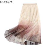 Юбки Sherhure 2021 Два слоя Женщины Летнее Бежевая Юбка с высокой талией A-Line Сетка Повседневная Одежда Faldas Jupe Femme Saia
