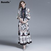 Banulin New 2019 패션 활주로 디자이너 여름 드레스 여성 턴 다운 칼라 꽃 프린트 Pleated 빈티지 맥시 셔츠 Dresses1