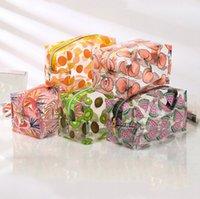 화장품 가방 지갑 여행 투명 방수 과일 인쇄 귀여운 저장 파우치 메이크업 주최자 명확한 케이스 세면 용품 PVC 지퍼 지퍼