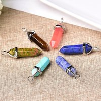 Decorative Objects & Figurines 100% Natural Crystal Hexagonal Column Point Pendant Quartz Jewelry Healing Stone Charms Trendy Accessories Un