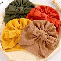 Caps & Hats Rbon Bow Hat Baby Girls Headwrap Turban Solid Color Bebes Beanie Cute Little Ear BeaniesT Infant Girl 0-3T