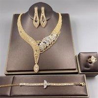 Earrings & Necklace Luxury Bling Rhinestone Zircon Woman Two-piece Set Wedding Bride Bridesmaid Fashion Jewelry Accessories