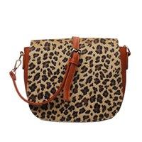 Short Fur Leopard Crossbody Bag Faux Leather Flap Messenger Shoulder Bags Custom Design Outdoor Women Purse Overnight Weekend Tote DOM1745