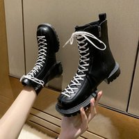 Boots Brand Ladies Shoes Summer Zipper Round Head Fashion 2021 Black Med Rock Lolita Ankle Rubber