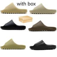 Kanye sandalias espumsilleras masculinas / hembra zapatillas enflase naranja ósea zapatillas, azul real arena resina luna tierra marrón tres pesadas negras blancas damas 36-45