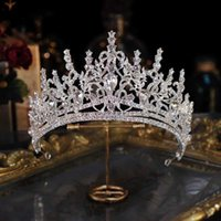Baroque Luxury Bling Crystal Heart Bridal Tiaras Crown Big Pageant Diadem Bride Hairbands Wedding Hair Accessories 211006