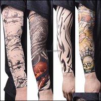 Tattoos Art Health & Beauty Warmer Nylon Elastic Fake Temporary Tattoo Sleeve Designs Body Arm Stockings Tatoo For Cool Men Women Fast Drop