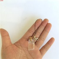 Cute Glass Bottles Pendant Rectangle Key Chains Arts With Cork For Phone Bracelets Necklace 2016 New 10pcs high qty