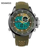 Мужчины спортивные часы BOAMIGO BRAND Кварцевые часы аналоговые цифровые светодиодные часы резиновые полосы 30M водонепроницаемый наручные часы Reloj Hombre X0524