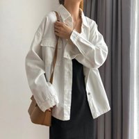Women's Jackets White Jean Jacket Plus Size Women Autumn Causal Long Sleeve Single Breasted Denim Female Korean Baggy Coat 5XL