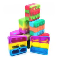NEW 4+1 Silicone Container Case Carriers Square Box Non-stick 26ml Block Box For Dab Wax Oil Dry Herb Silicon Storage Jar DHL shipping