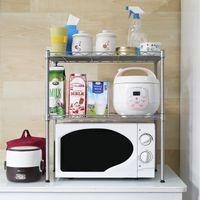 المطبخ ميكروويف الفرن رف رفوف الرف، 2-طبقات قابل للتعديل الفولاذ المقاوم للصدأ تخزين الرف