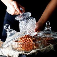 Lagerflaschen Gläser Europäer der Kristallgefäß Glas Kerzenschüssel mit Zuckerabdeckung Candy Diamond Caramel Box Monili