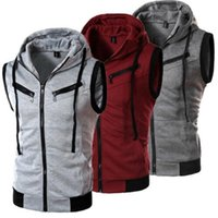 Mens Designer t shirts Men 2021 Autumn Sleeveless Zip Up Vest Hoodie Sports Workout Muscle Tank Tops Blouse Shirt Solid Ropa Hombre Casual Sportswear G65D