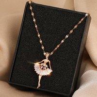 Anhänger Halsketten Titan Stahl Material Ballett Mädchen Schlüsselbein Kette Schöne Mode Temperament Trend Halskette