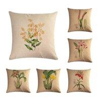 Cushion Cover Decorative Pillow Linen Cotton Flowers Plants Sofa Chair Bedding Coussin 45x45cm Cushion Decorative