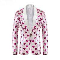 남성용 정장 블레이저 하트 모양의 패턴 양면 스팽글 정장 재킷 목도리 옷깃 가수 성능 신랑 드레스 남성